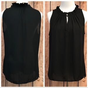 Laundry by Shelli Segal Black Ruffle Collar Blouse